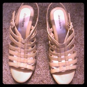 Dress barn beige, open toe strappy shoes